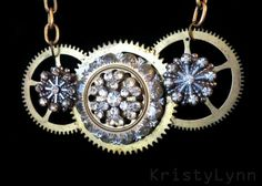 Jewelry made from watch and clock parts and broken jewelry. How clever.