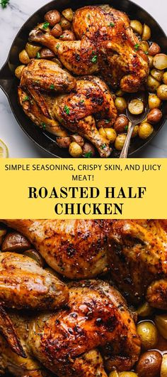 So delicious that even a picky eater will enjoy this dish! Even a picky eater A simple roasted half chicken that is packed with flavors. The half chicken is oven-roasted to perfection, seasoned with homemade lemon thyme spice rub! Golden brown on the outside, tender, and juicy on the inside. #roastedhalfchicken #halfchicken #roastedchicken #ovenbakedchicken #chickenrecipe Ground Chicken Recipes, Yummy Chicken Recipes, Yum Yum Chicken, Yummy Recipes, Duck Recipes, Real Food Recipes, Cooking Recipes, Healthy Comfort Food