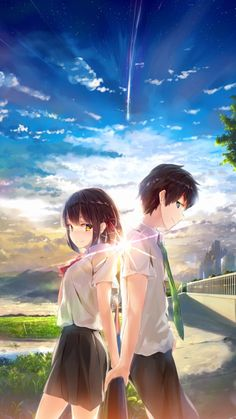 805 anime yourname sky illustration art iphone x(s/max/r) wallpaper Manga Anime, Film Anime, Art Anime, Otaku Anime, Anime Music, Kimi No Na Wa, Couple Amour Anime, Anime Love Couple, Anime Wallpaper Download