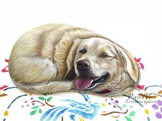Portrait of a labrador dog, hand painted stone by Ernestina Gallina