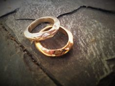 Couple band rings bronze and silver