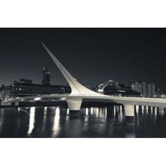 Buildings with a footbridge at the port Puente De La Mujer Puerto Madero Buenos Aires Argentina Canvas Art - Panoramic Images (36 x 24)