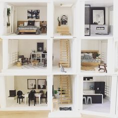 "856 Likes, 35 Comments - OneBrownBear (@onebrownbear) on Instagram: ""Photo mash up of 3 floors of the Malibu #moderndollshousereno #malibudollhousekit"""