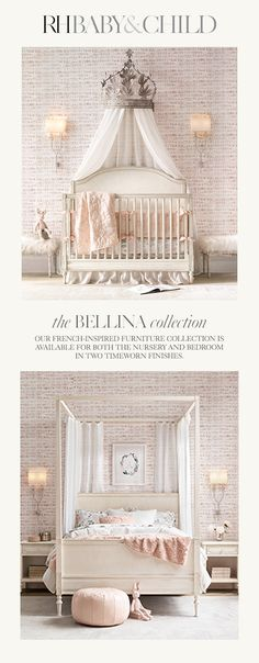 Create a feminine feel with our exquisitely detailed, French-inspired design. Sweetly sophisticated, the collection features raised moldings, rosette carvings and exquisite turned feet. Shop the Bellina furniture collection at RH Baby & Child. Baby Nursery Decor, Baby Bedroom, Baby Decor, Nursery Room, Girl Nursery, Girls Bedroom, Bedroom Decor, Nursery Ideas, Baby Rooms