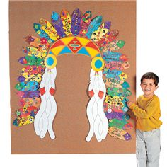 DIY Native American Headdress Bulletin Board - I could put this around the November display case