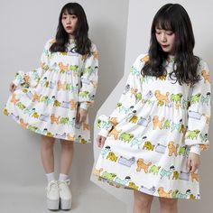 88 yuan kawaii Inu dress from Taobao YE独家 日本原单 原宿PUNYUS 渡辺直美 彩色狗连衣裙T恤 超大码