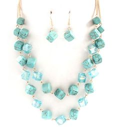 Turquoise Ina Necklace in Blue Crystal on Emma Stine Limited (you have to join to browse the site)