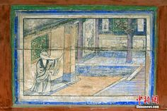 A monk and a monkey -- a mural on the wall of the #96 cave in Dunhuang Grottos