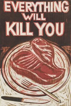 """Red Meat, 17"""" x 11"""" color woodcut by Kent Ambler"""