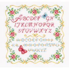 "Alphabet & Roses On Aida Counted Cross Stitch Kit-13.75""""X13.75"""" 14 Count"