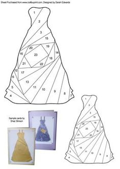 Dress Iris Folding Pattern on Craftsuprint designed by Sarah Edwards - An iris folding pattern of a dress. The pattern comes in two sizes so that you can choose which one to use depending on the size of card you are making. - Now available for download!