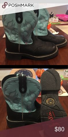 Justin Gypsy Boots *like new!* Fabulous turquoise and black Justin Gypsy boots, worn once on carpet, bottoms looks brand new. Justin Boots Shoes Heeled Boots