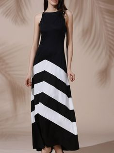 Sexy Black and White Chevron Sleeveless Color Block Maxi Dress For Women #Black_and_White #Maxi_Dresses #Summer_Dresses