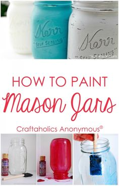 How to Paint Mason Jars. Lots of tips, tricks, and product recommendations. Tips and tricks on how to paint mason jars for perfect results every time! Product recommendations and different techniques included. Pot Mason, Mason Jar Gifts, Mason Jar Diy, Gift Jars, Jar Crafts, Bottle Crafts, Diy And Crafts, Decor Crafts, Do It Yourself Wedding