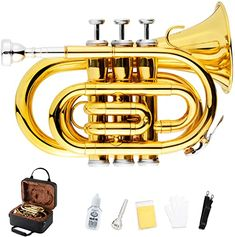 EastRock Pocket Trumpet Gold Lacquer Brass Bb Pocket Trumpet for Beginners,Students or Intermediate with Standard 7C Trumpet Mouthpiece,Hard Case,Valve Oil,Strap,White Gloves,Cleaning Cloth