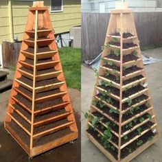 DIY plans for 3 and 6 ft. pyramid strawberry planters. You can grow strawberries, herbs, and flowers in these unique, pyramid shaped towers. Woodworking plans include photos at each step.   ( chesapeakecrafts.com )