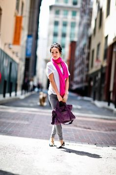 I will be needing a pair of grey jeans and a hot pink scarf.