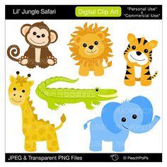 animal clip art digital clipart baby monkey от peachpopsclipart, $5.00