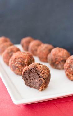 Goji-Dusted Raspberry Chocolate Truffles for Valentine's Day! #vegan