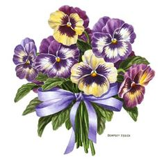 Pansies and a bow Illustration Blume, China Painting, Flower Images, Pictures To Paint, Flower Cards, Botanical Art, Vintage Flowers, Pansies, Vintage Images