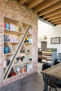 very cool bookshelf in a contemporary Amsterdam home