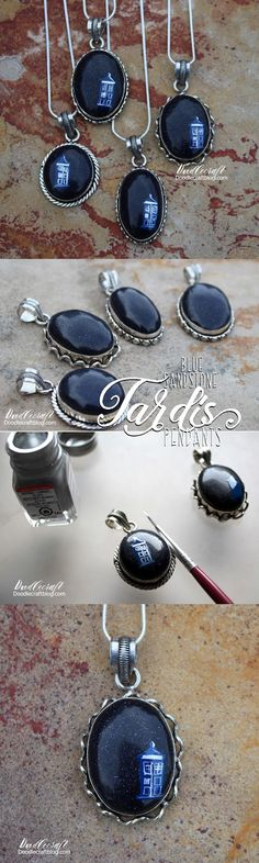 Doodlecraft: Blue Sandstone Galaxy TARDIS Necklace!