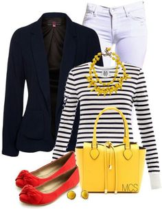 .white jeans, navy stripe top, navy blazer, yellow tote, red flats
