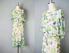 Vintage 20s Dress // 1920s Sheer Floral Chiffon Flapper Dress by OffBroadwayVintage