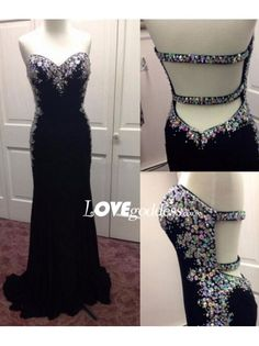 Black Chiffon Crystals Sweetheart Evening Gown With Open Back