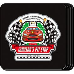 "Pit Stop Racing Personalized Bar Coaster Set. The racing enthusiast or home bartender will appreciate these sets of four richly detailed, waterproof coasters, which reflect his fave activity. Our personalized coasters are a perfect accessory to any bar or family room. Our Racing Personalized Beverage Coaster Set's personalized design is printed in full color onto a non-skid cork base. Includes 4 coasters and mahogany caddy for storage. Each coaster measures 3.75"" x 3.75""."