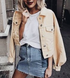 Pastel Spring jacket with jean skirt