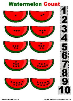 "such a good activity to go along with ""The Enormous Watermelon"" big book Counting Worksheets For Kindergarten, Preschool Curriculum, Preschool Printables, Kindergarten Math, Preschool Activities, Free Printables, Summer Preschool Themes, Free Preschool, Preschool Crafts"