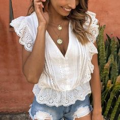 BerryGo Elegant v-neck hollow out peplum blouse shirt women Ruffles embroidery white blouse top Female elastic waist cotton tops White Ruffle Blouse, Peplum Blouse, Sexy Blouse, Cotton Blouses, Shirt Blouses, Shirts, Special Dresses, White Embroidery, Sleeve Styles