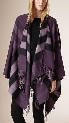 Regency purple Check Wool and Cashmere Cape  from Burberry