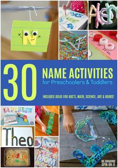 30 Name Activities for Preschoolers and Toddlers. Fun and easy name themed ideas for alphabet, math, sensory, snacks, books and more! Name Activities Preschool, All About Me Activities, Early Learning Activities, Activities For 2 Year Olds, Toddler Learning, Preschool Learning, Reading Activities, Toddler Preschool, Preschool Activities