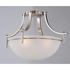 @Overstock.com - Satin Nickel 3-light Ceiling Fixture - Give your living space a sleek and contemporary feel with this three-light ceiling fixture. This beautiful ceiling fixture utilizes simple and clean lines to create a minimalistic look. It features a shiny satin nickel finish and a white shade.  http://www.overstock.com/Home-Garden/Satin-Nickel-3-light-Ceiling-Fixture/4103766/product.html?CID=214117 CAD              124.54