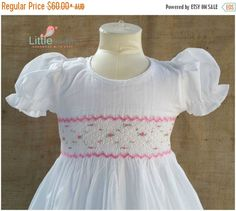 6fa699c6f3cd SALE Gorgeous white hand smocked dress with hand embroidery by LittleSmock  on Etsy Baby First Birthday