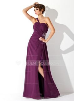 Prom Dresses - $133.49 - A-Line/Princess One-Shoulder Floor-Length Chiffon Prom Dress With Ruffle Beading (018004872) http://jenjenhouse.com/A-Line-Princess-One-Shoulder-Floor-Length-Chiffon-Prom-Dress-With-Ruffle-Beading-018004872-g4872