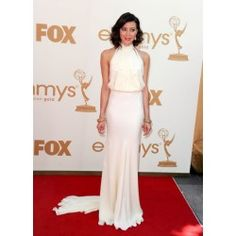 Aubrey Plaza White Halter Formal Prom Dress The 63rd Annual Emmy Awards Red Carpet