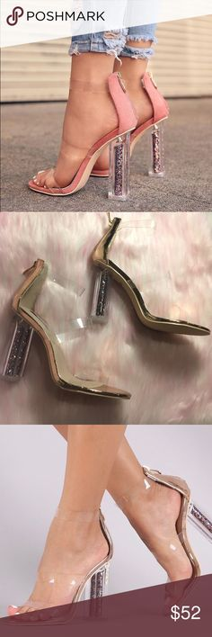 Party Perspex Glitter Heel Brand new Boutique #shopthemarbella shopthemarbella.com Color: Metallic Rose Gold  Runs : True to size Available 6-11 Heel Height: Approx 4 Inches Price is firm  No trades   * FIRST PICTURE IS STYLING REFERENCE this is the metallic rose gold version ✨ the marbella Shoes Heels