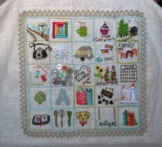 """Some cute embroidered """"inchies"""". Embroidery Sampler, Hand Embroidery Stitches, Cross Stitch Embroidery, Embroidery Patterns, Embroidery Hoops, Sewing Crafts, Sewing Projects, Contemporary Embroidery, Miniature Quilts"""
