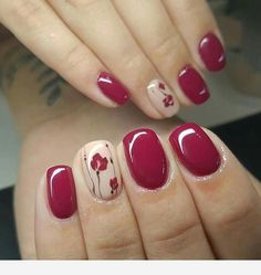 """If you're unfamiliar with nail trends and you hear the words """"coffin nails,"""" what comes to mind? It's not nails with coffins drawn on them. It's long nails with a square tip, and the look has. Fall Nail Art Designs, Colorful Nail Designs, Red Nails, Hair And Nails, Purple Nail, Pink, Cute Nails, Pretty Nails, Short Nails Art"""