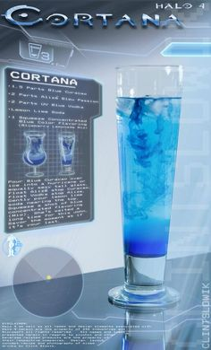 For my Husband.....  Cortana (Halo cocktail)        Ingredients:      1.5 parts Blue Curacao      2 parts Alizé Bleu Passion      2 parts UV Blue Vodka      1 squeeze Blueberry Lemonade Mio      Lemon Lime soda            Drink created and photographed by Clint Slowik.     http://thedrunkenmoogle.com/post/39484153255/cortana-halo-cocktail-ingredients-1-5-parts