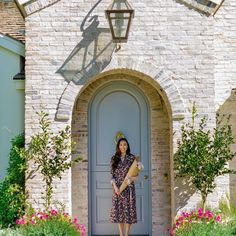 A cute front entrance, women with roses in front of a blue dutch door Dutch Door, Bank Of America, Front Entrances, House Entrance, Urban Farming, Home Ownership, House Goals, Prefab, Home Buying