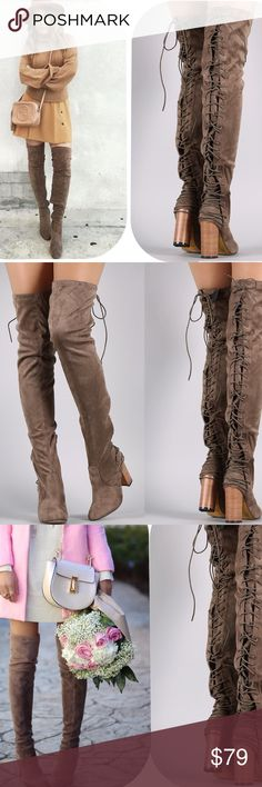 Taupe Stretch Tight Lace Up Over Knee Suede Boots ⛄️JUST ARRIVED!⛄️Upgrade your simple boots for a subtle and flirty new look!⛄️ Brand New in Box ⛄️All vegan materials ⛄️ 3.25 inch heel ⛄️ Boot is 23 inches tall/26.25 inches tall including the heel ⛄️ Limited Quantities  Feel free to ask questions! Shoes Over the Knee Boots