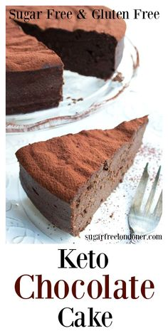 This easy 5 ingredient keto chocolate cake is to die for! It is incredibly moist, rich and chocolatey and comes in at only net carbs per slice. Make this recipe this holiday for a low carb, sugar…More 15 Mouth Watering Sugar Free Dessert Ideas Desserts Keto, Desserts Sains, Keto Friendly Desserts, Sugar Free Desserts, Sugar Free Recipes, Gluten Free Desserts, Low Carb Recipes, Healthy Recipes, Diet Recipes