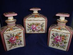 ANTIQUE HAND PAINTED SEVRES  VANITY SET FOR OVINGTON NEW YORK in Antiques, Decorative Arts, Ceramics & Porcelain, Boxes   eBay