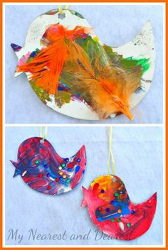 Kid Made Bird Decorations to Hang in the Window. A process art activity that also produces lovely decorations for spring or summer.