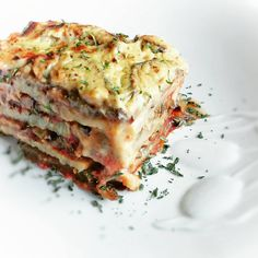 Vegan Moussaka- not bad!! My advice is be sure to cut the potatoes very thin, and add salt to the tomato sauce and to the bechemel sauce for a more flavorful dish.