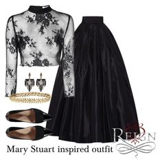 """Mary Stuart inspired outfit/Reign"" by tvdsarahmichele ❤ liked on Polyvore featuring Naeem Khan, Glamorous, Lulu Frost and Ellen Hunter"